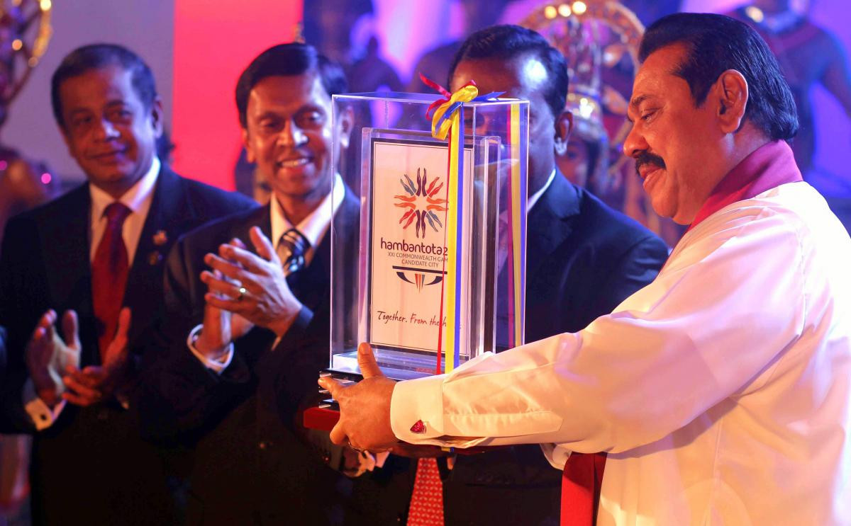 Sri Lanka's poor human rights record under former President Mahinda Rajapaksa, right, contributed to the decision to award the 2018 Commonwealth Games to the Gold Coast rather than Hambantota, many believe ©Hambantota 2018