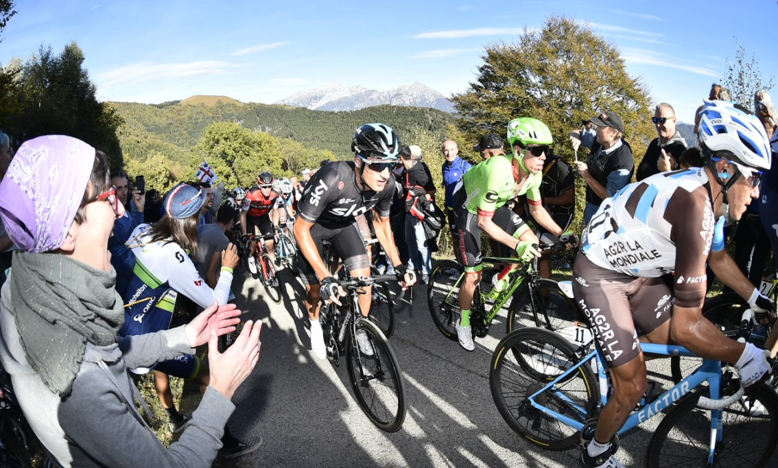 Riders tackle the Muro di Sormano midway through the Il Lombardia race today ©Il Lombardia/Twitter