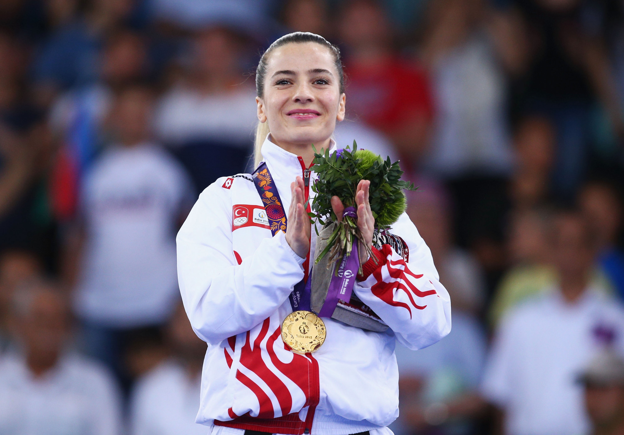 Serap Ozcelik, pictured celebrating gold at the Baku 2015 European Games, was another winner ©WKF