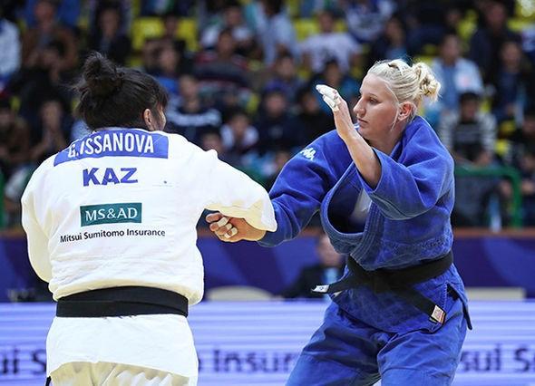 Olympic bronze medallist Anamari Velensek of Slovenia beat defending champion Gulzhan Issanova of Kazakhstan to clinch the gold medal in the women's over-78kg category ©IJF