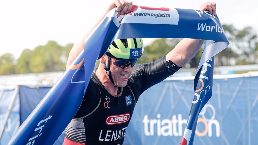Germany's Benjamin Lenatz won the gold medal in the men's PTWC ©ITU