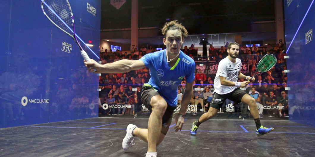 Paul Coll, left, surprised Karim Abdel Gawad in the first round ©PSA