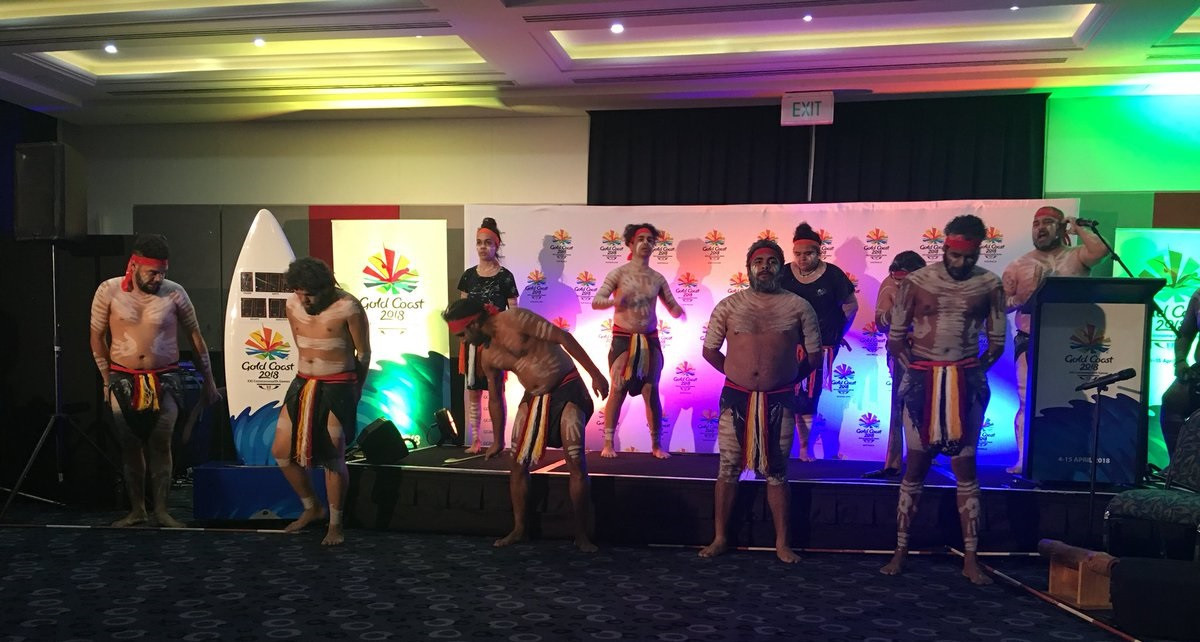 The indigenous Yugambet language group gave a traditional welcome ©Twitter
