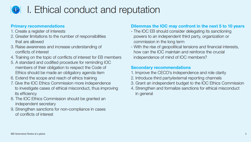 Recommendations made about IOC ethical issues in the good governance study ©IOC