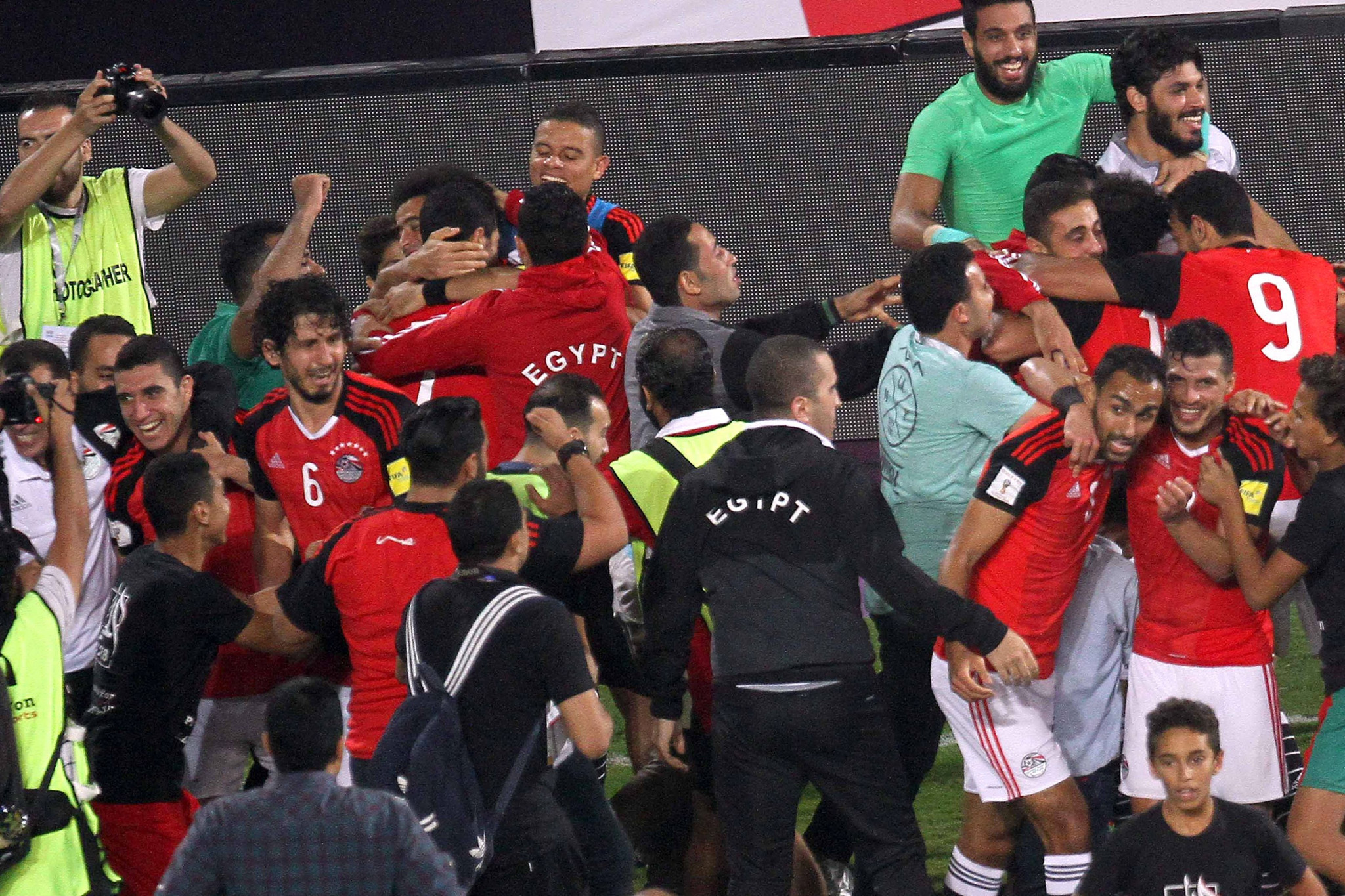 There were wild scenes of celebration on and off the pitch after Egypt beat Congo to qualify for the World Cup ©Getty Images