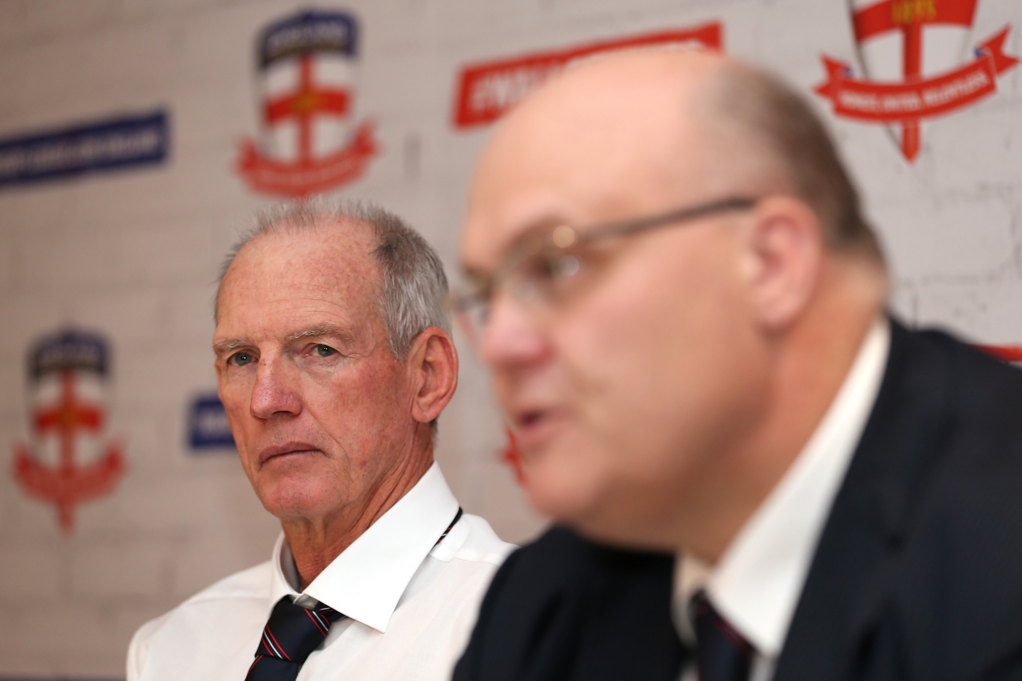 Nigel Wood, right, chairman, Rugby League International Federation, has paid tribute to David Collier who steps down as chief executive next May ©Getty Images