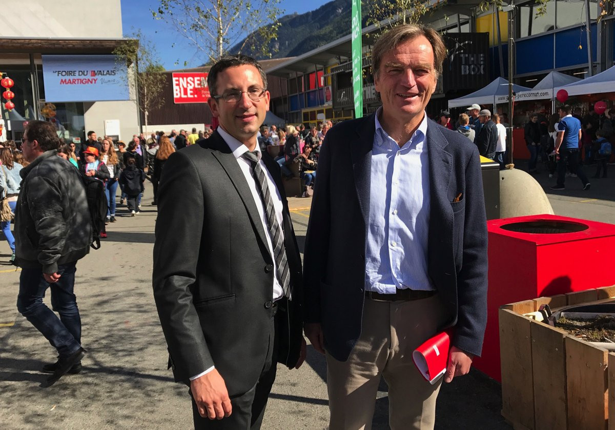 Sion 2026 President Jean-Philippe Rochat, right, hopes a decision could be taken in the coming weeks ©Sion 2026