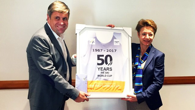 Longines presented with special bib to mark 50th anniversary of Alpine Ski World Cup