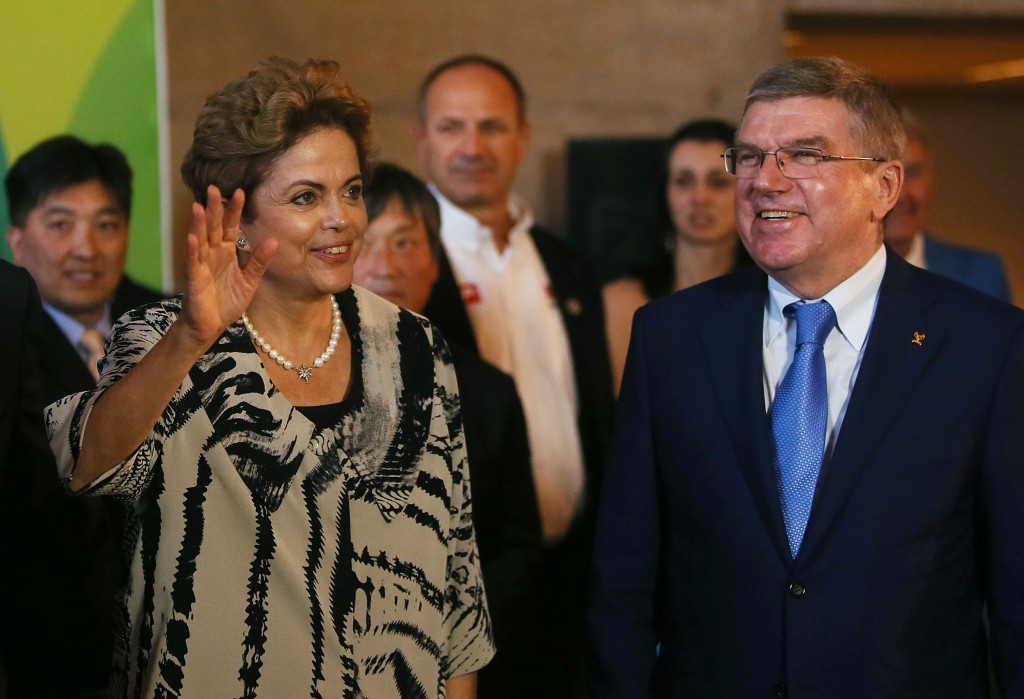 Brazilian President Dilma Rousseff, pictured alongside International Olympic Committee counterpart Thomas Bach last week, is the source of the protests ©Getty Images