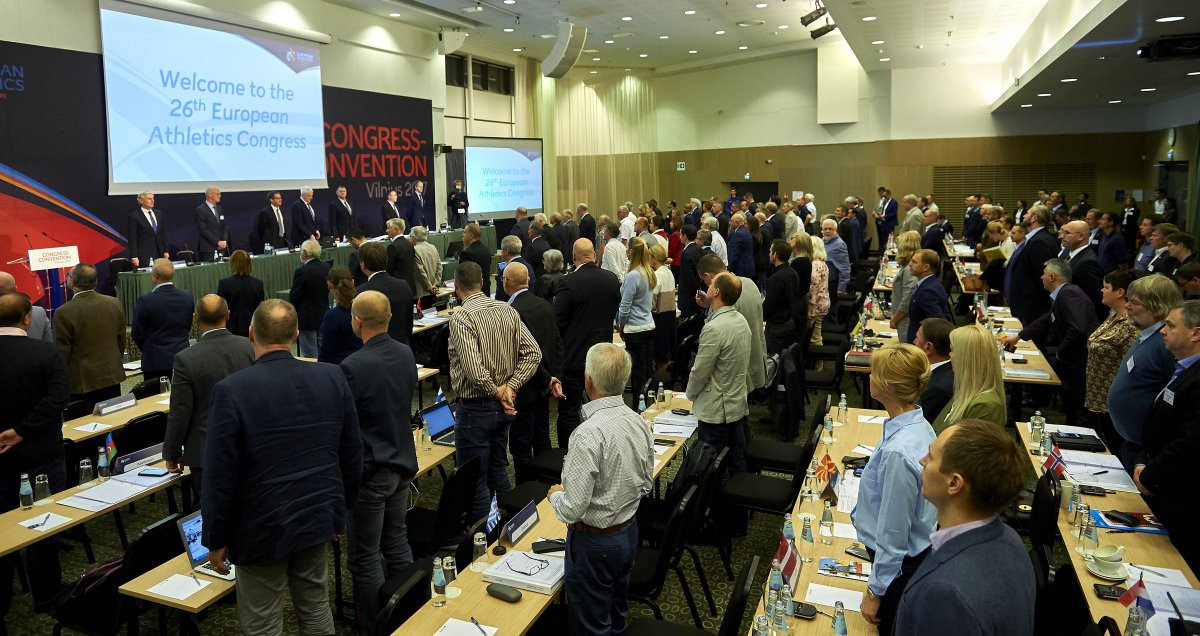 The vote to revoke Valentin Balakhnichev's honorary membership was taken at the European Athletics Congress ©European Athletics/Twitter