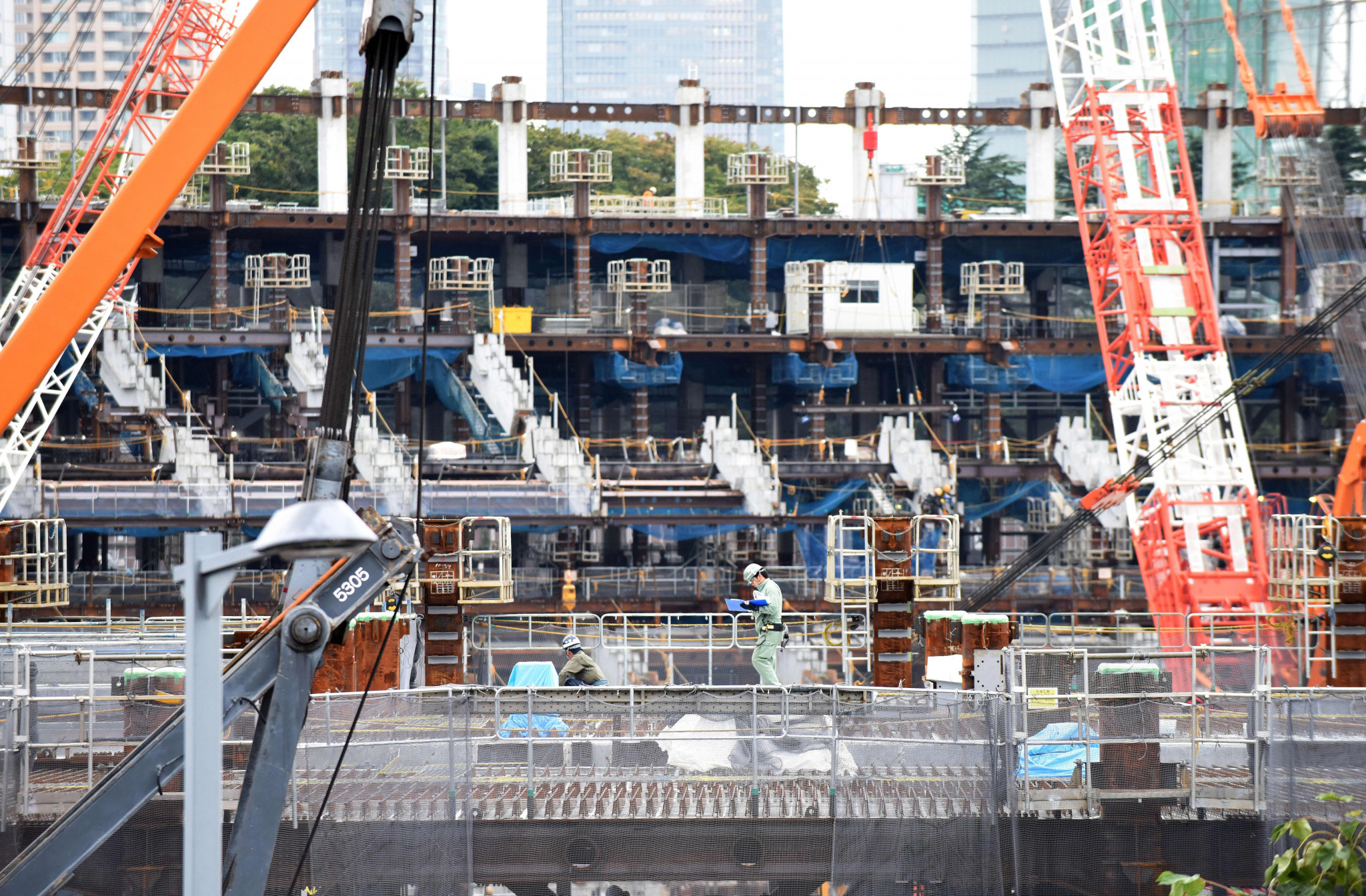 Work at the Tokyo 2020 Olympic Stadium construction site began in December 2016 ©Getty Images
