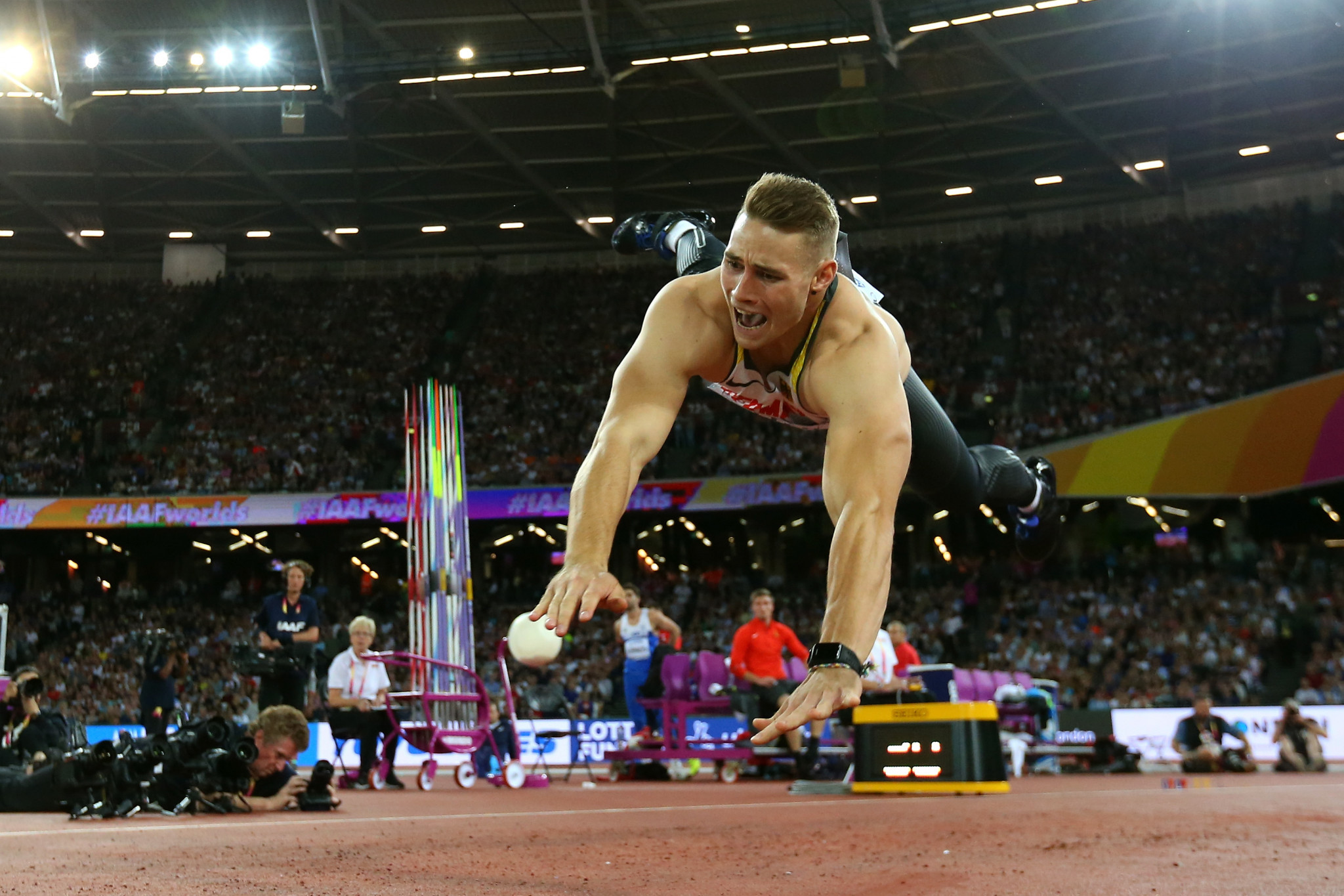 Germany's Johannes Vetter won the men's athlete of the year award in recognition of his gold medal-winning javelin throw performance at the 2017 IAAF World Championships in London ©Getty Images