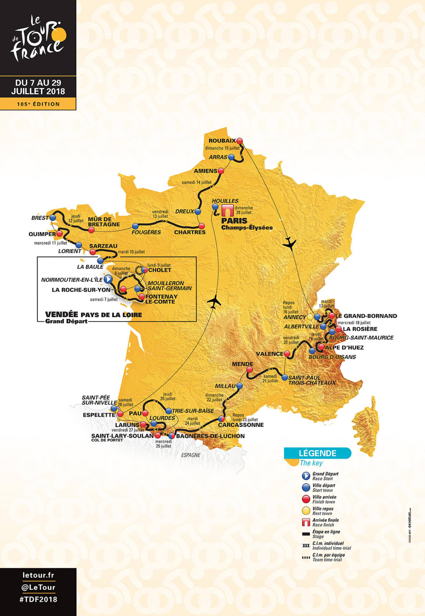 The Tour de France 2018 route has been unveiled by organisers ©TDF