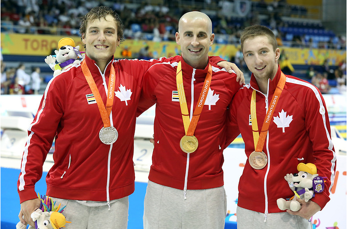 Canada's Benoit Huot won gold in the men's 400m freestyle S10 swimming event ahead of compatriots Isaac Bouckley and Alexander Elliot