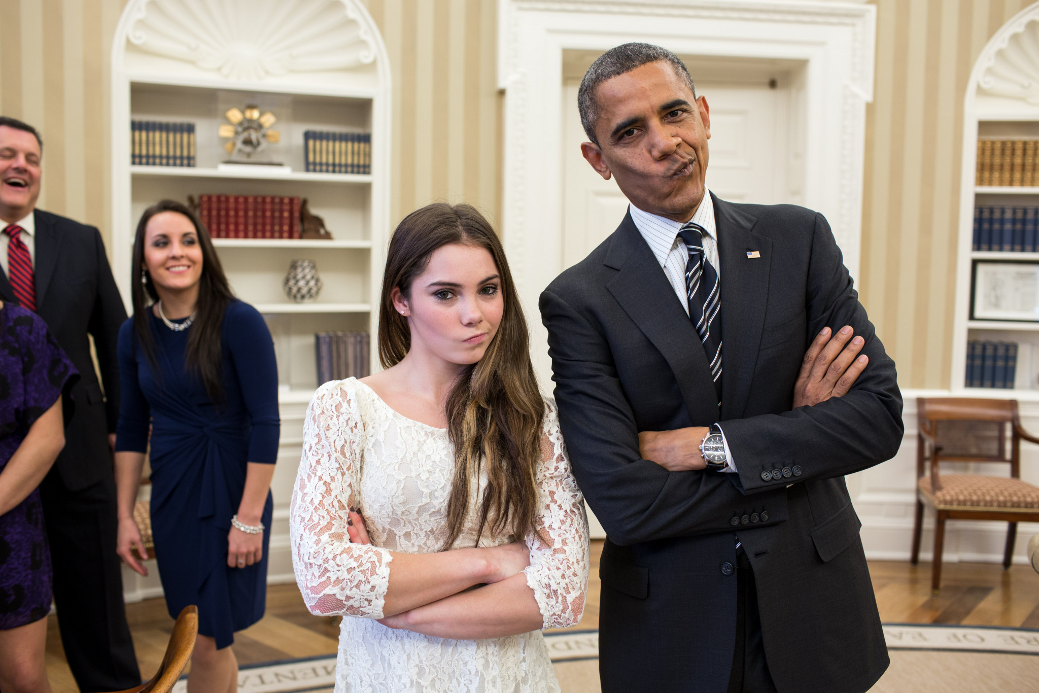 McKayla Maroney, seen here meeting former United States President Barack Obama in the White House, won Olympic team gold and individual vault silver medals at London 2012 ©Getty Images