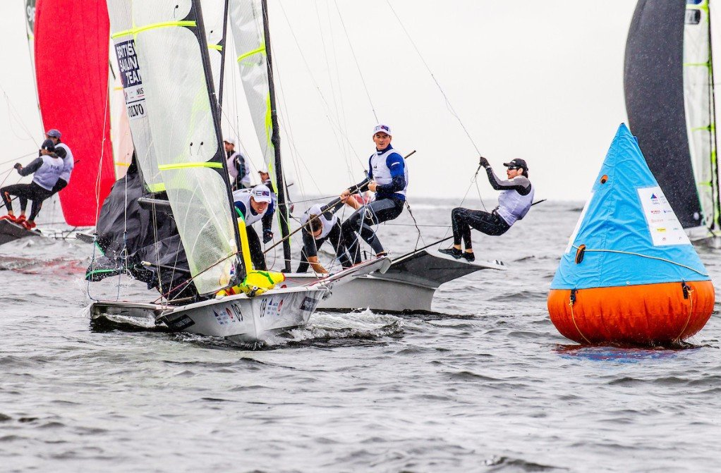 Current world champions as Great Britain's Dylan Fletcher and Stu Bithell won two of the four men's 49er races to take the overall lead ©World Sailing