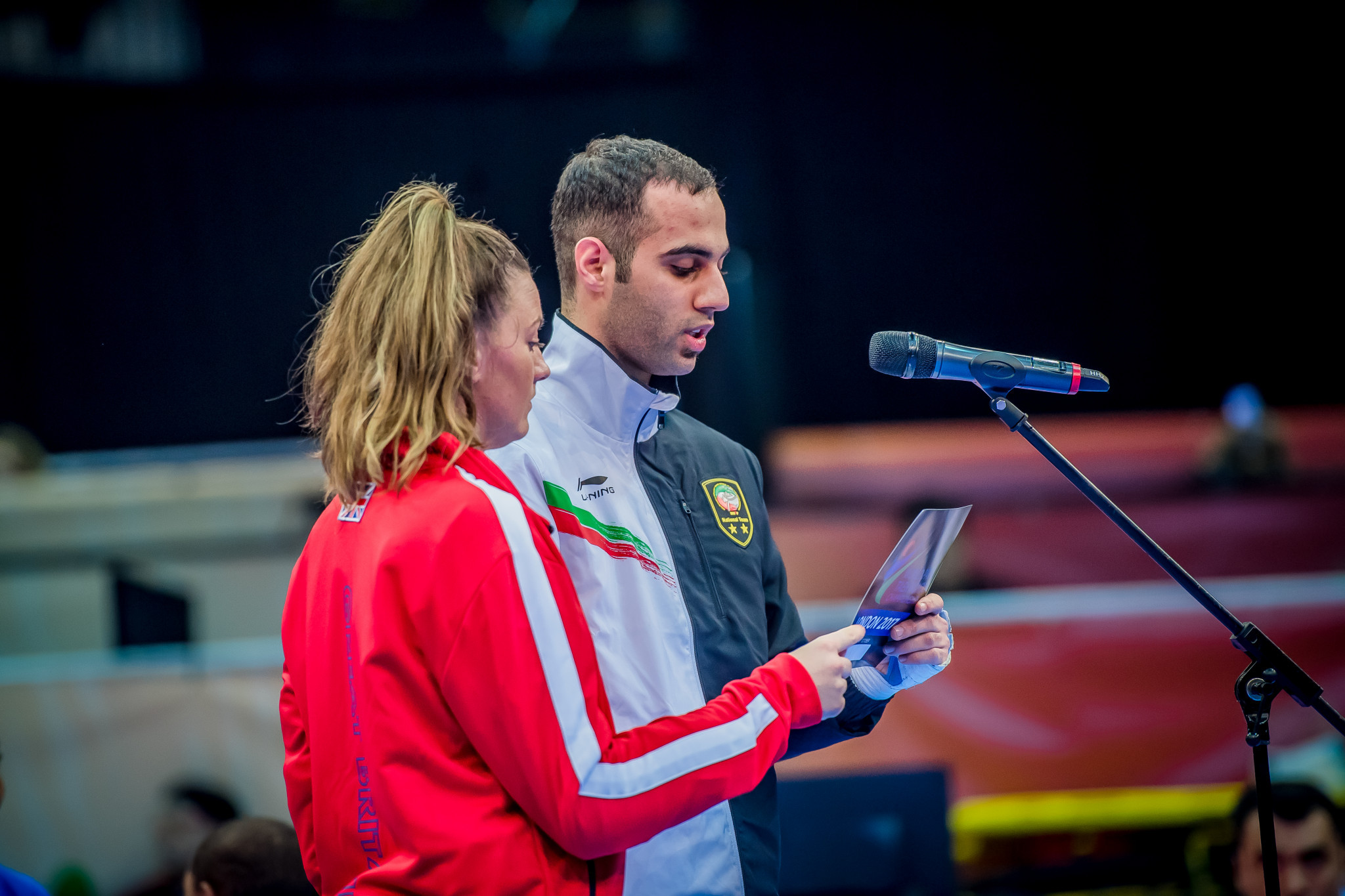 Truesdale and Iran's Mahdi Pourrahnama read the athletes' oath ©World Taekwondo