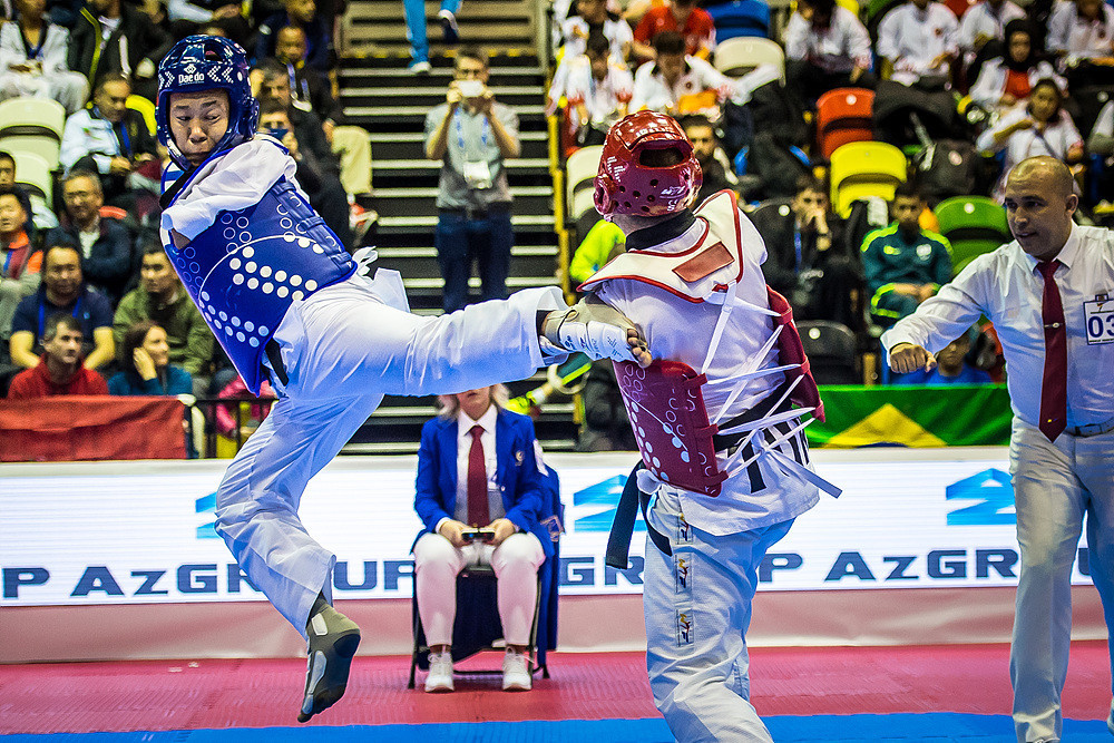 Kazakhstan's Nyshan Omirali beat Turkey's Yasar Sami Gokbaba in the men's K42 over 75kg final ©World Taekwondo