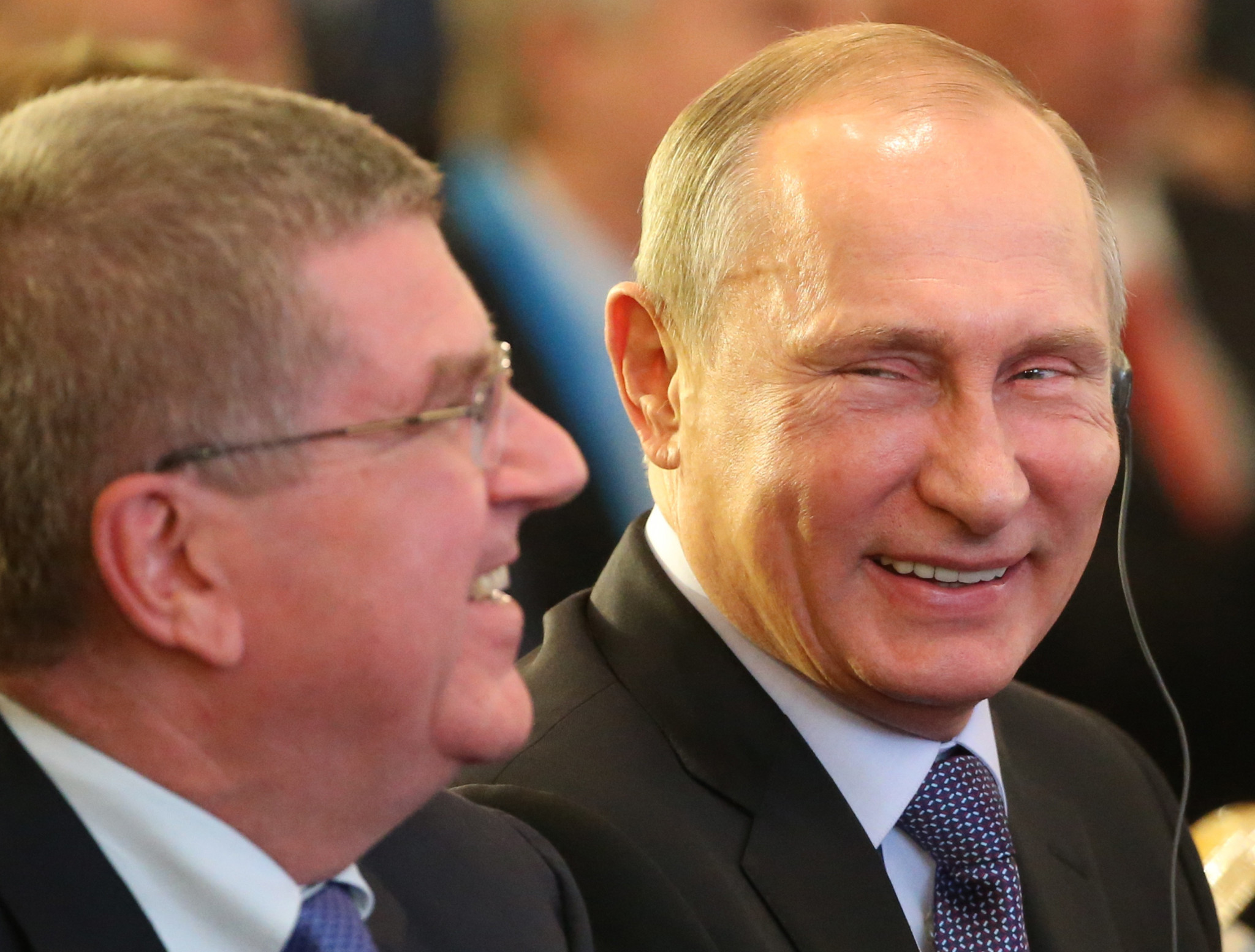 Russian President Vladimir Putin, right, alongside IOC counterpart Thomas Bach at the World Olympians Forum in 2015 ©Getty Images