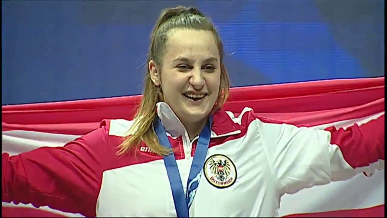 Anastasiia Shyshanova of Ukraine defeated Austria's Sarah Fischer, pictured, for the top spot in women's 90kg ©YouTube