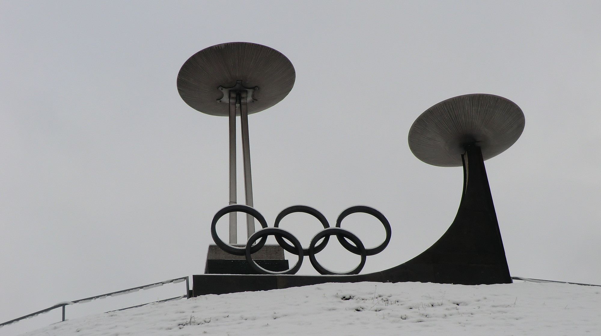The Olympic cauldrons for 1964 and 1976 at Innsbruck ©Philip Barker