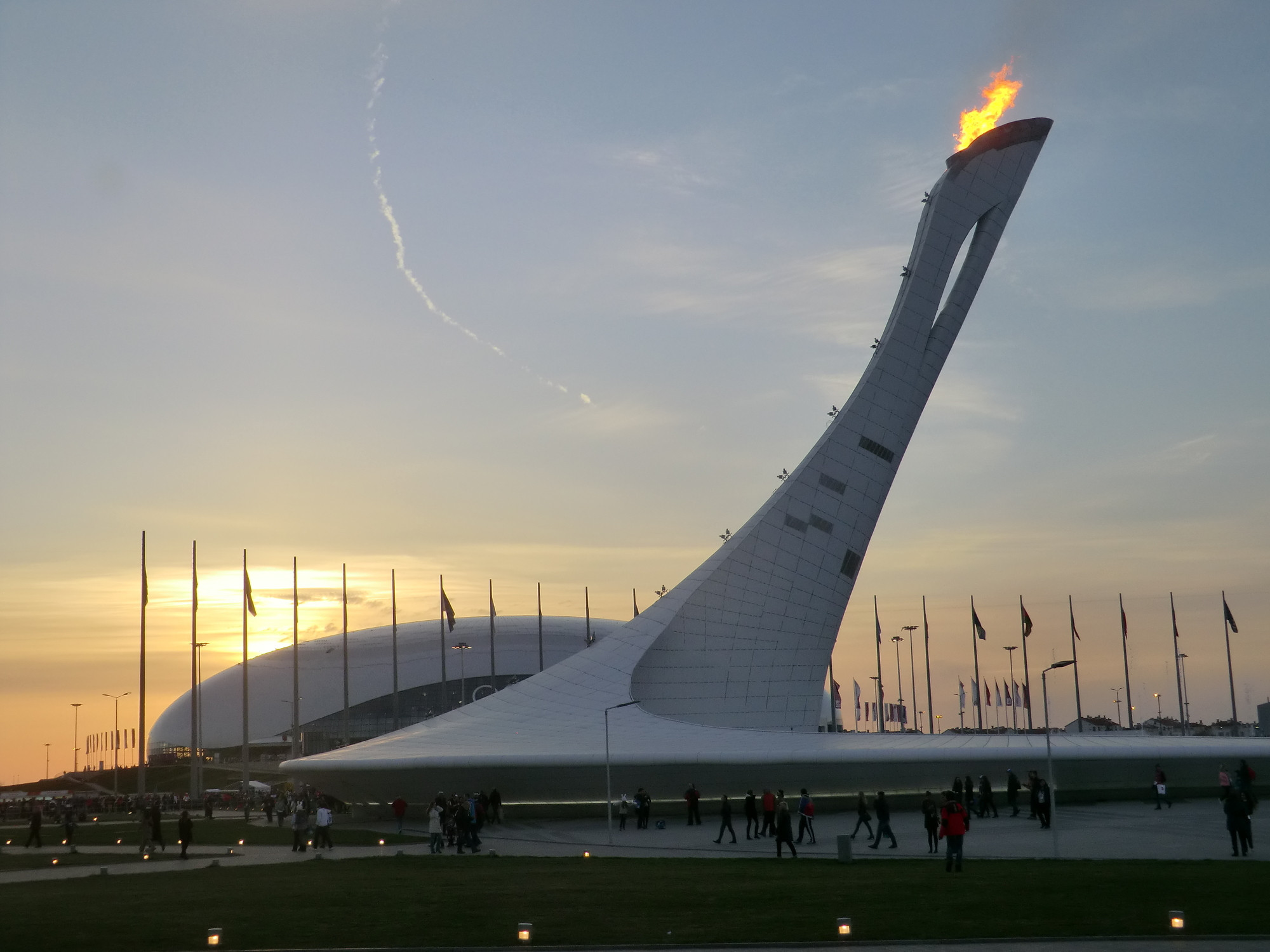 The Olympic Cauldron for Sochi 2014 glistens against a Russian sunset ©Philip Barker