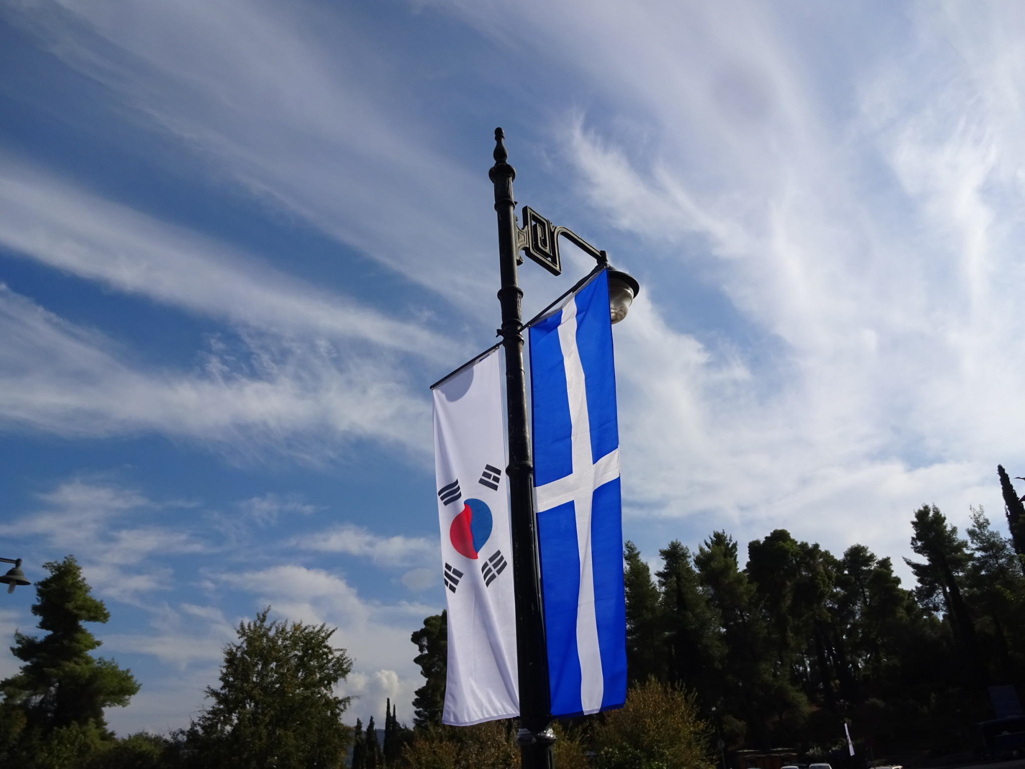 South Korean and Greek colours hang before the ceremony ©ITG