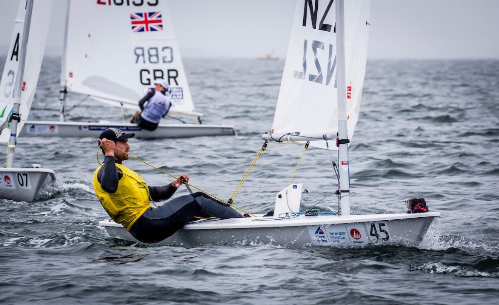 Rio 2016 bronze medallist Sam Meech of New Zealand held off the challenge of world champion Pavlos Kontides of Cyrpus to secure the men's laser crown ©World Sailing