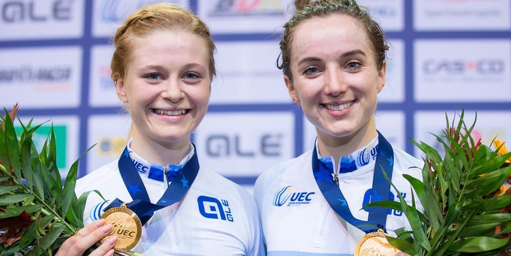 Britain's Elinor Barker and Ellie Dickinson won the gold medal in the madison on the final day of European Cycling Union Elite Track Championships in Berlin ©British Cycling