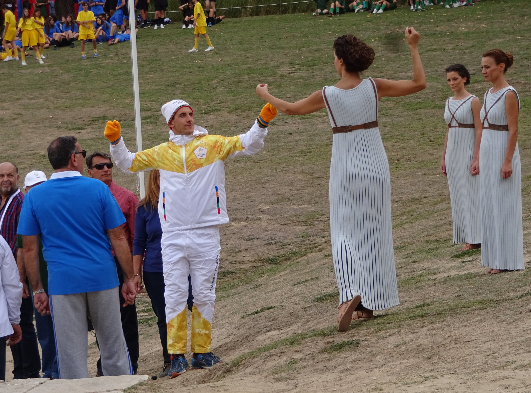Torchbearer Apostolos Angelis rehearsing for tomorrow's ceremony at Ancient Olympia ©ITG
