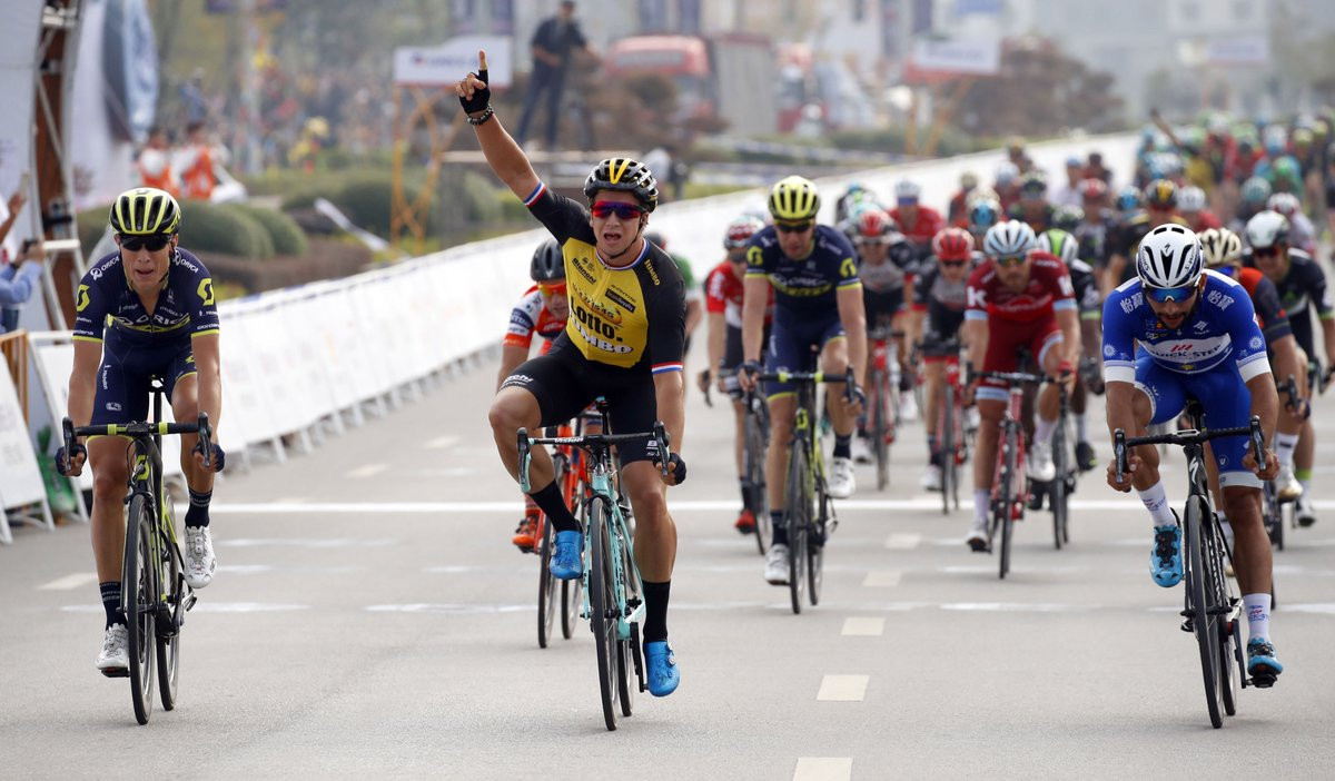 Groenewegen inflicts rare sprinting defeat on Gaviria at Tour of Guangxi