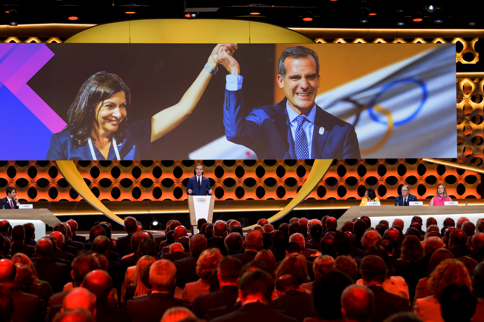 Eric Garcetti, speaking, made the Olympics sound like something a city should invest in ©Getty Images