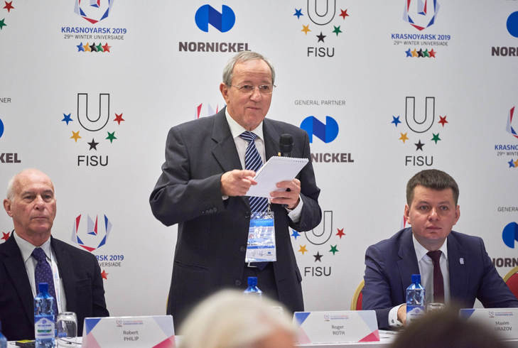 Roger Roth, who chairs FISU's International Technical Committee, addressing a meeting to oversee preparations for Krasnoyarsk 2019 ©FISU