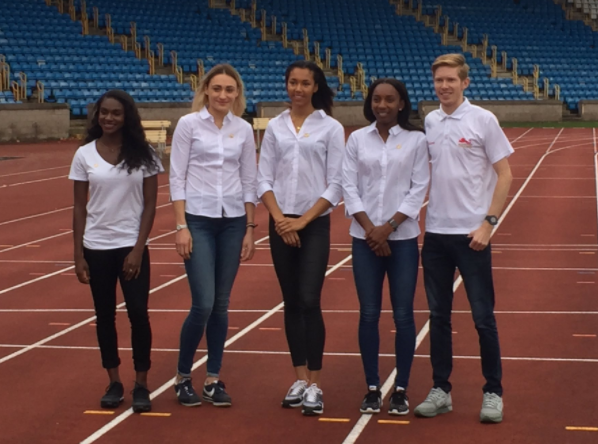 Tom Bosworth, right, posing alongside other members of the England Commonwealth Games team at their unveiling here today ©England Athletics/Twitter