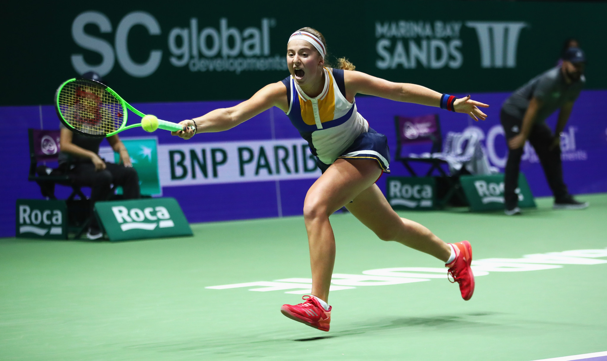 Jelena Ostapenko battled hard but lost in three tight sets ©Getty Images