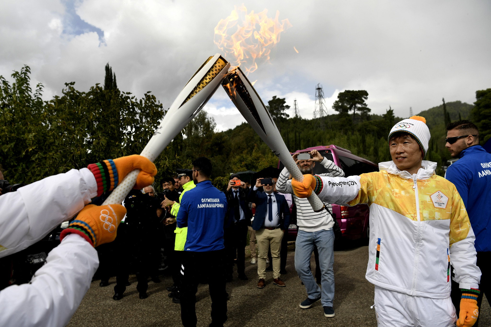 The Pyeongchang 2018 Olympic Torch lighting in Ancient Olympia was broadcast on the Channel ©Getty Images
