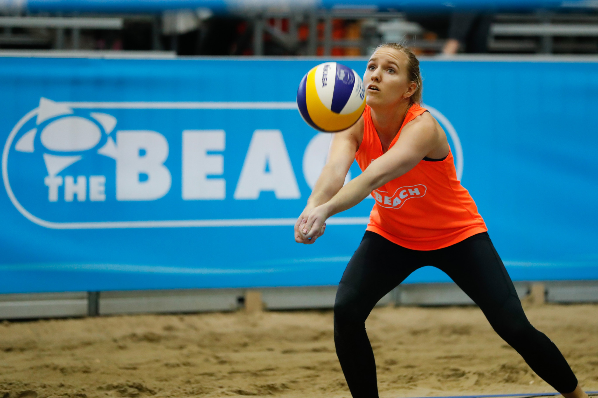 Kristina Thurin, pictured, partnered with Susanna Thurin to progress today ©FIVB