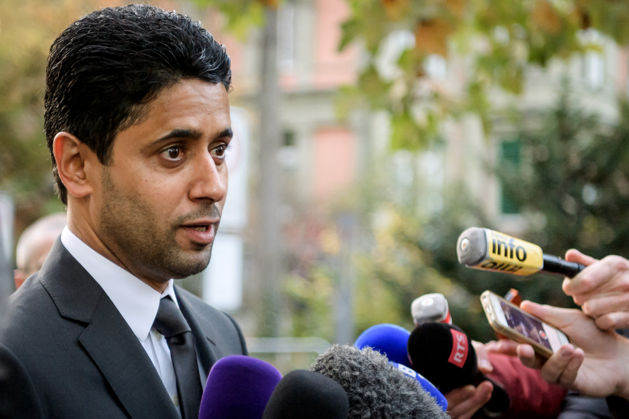 Nasser Al-Khelaifi speaks to the press after leaving talks with Swiss authorities today ©Getty Images