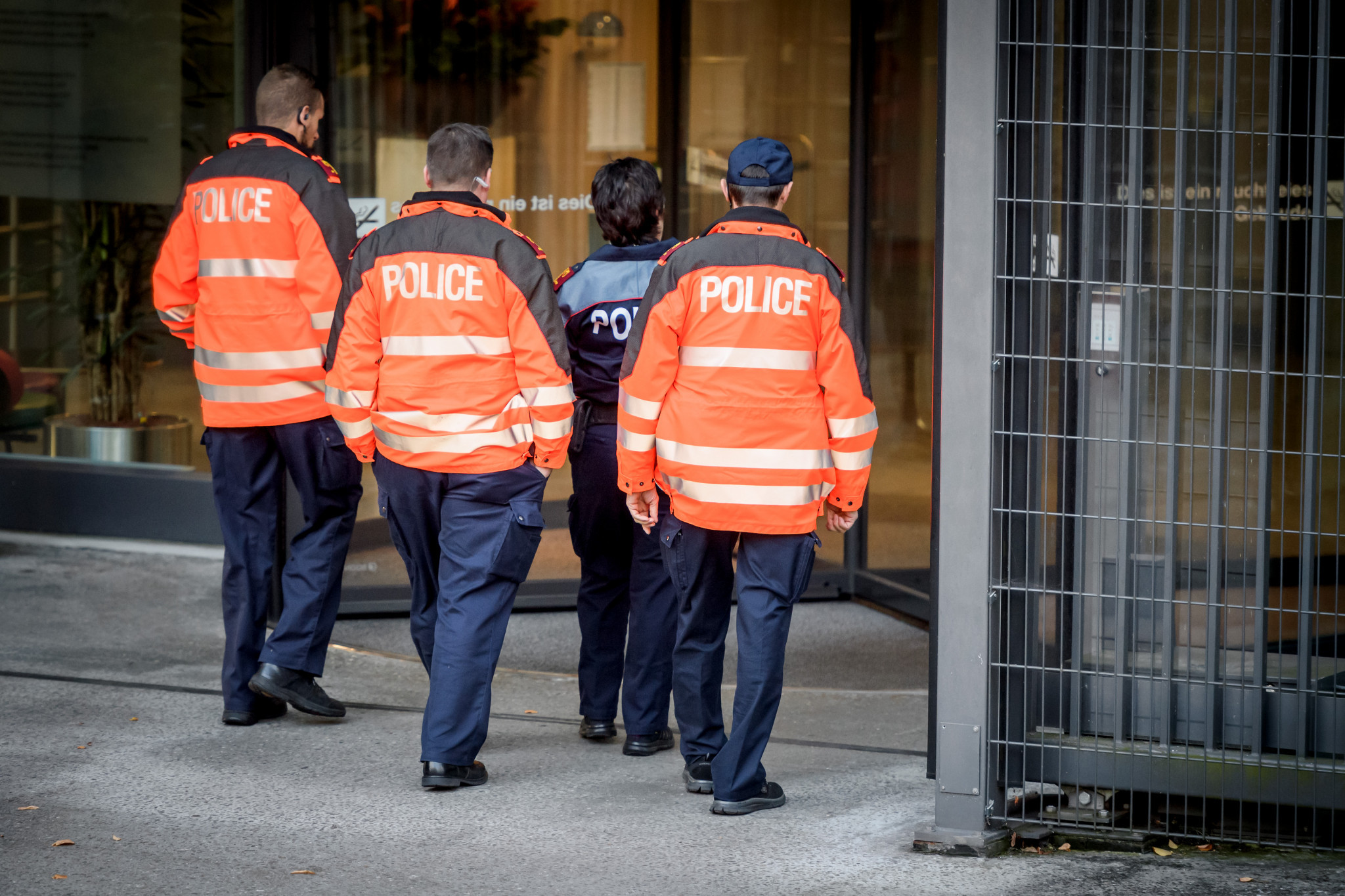Police officers enter the office of the Swiss Attorney General during today's hearing ©Getty Images