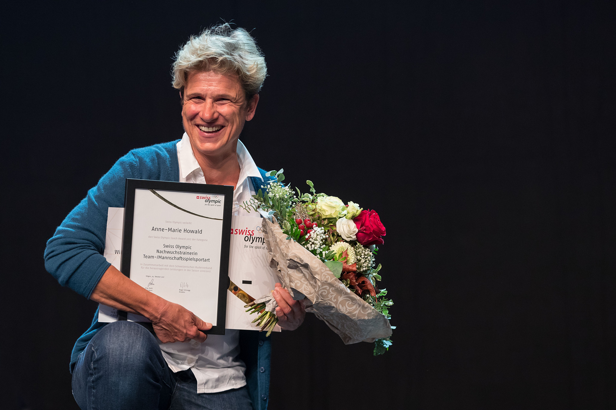 Anne-Marie Howald won the team coach prize ©Swiss Olympic