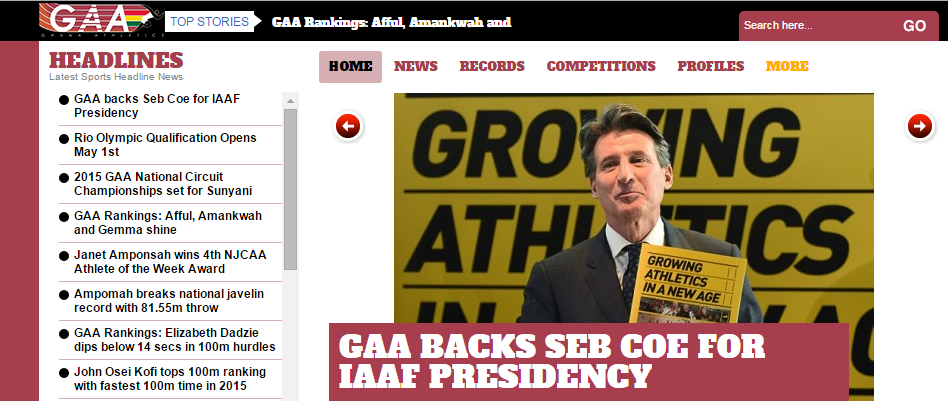 Ghana Athletics Association announced their backing for Sebastian Coe's campaign to become IAAF President on its official website
