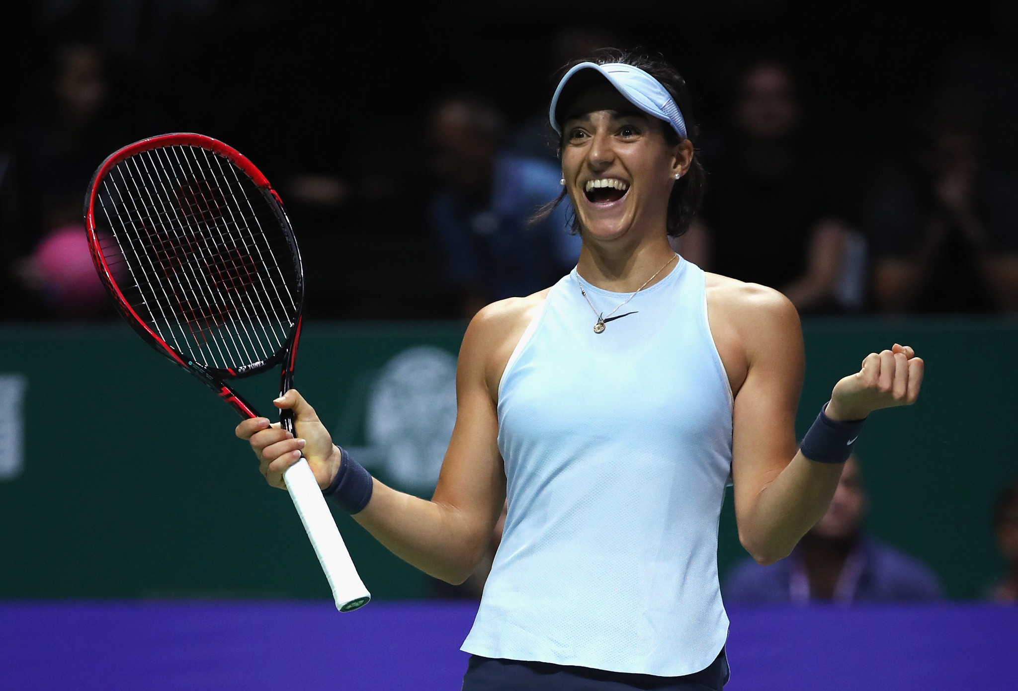 Caroline Garcia, pictured, claimed a sensational three-set comeback victory over Caroline Wozniacki today ©Getty Images