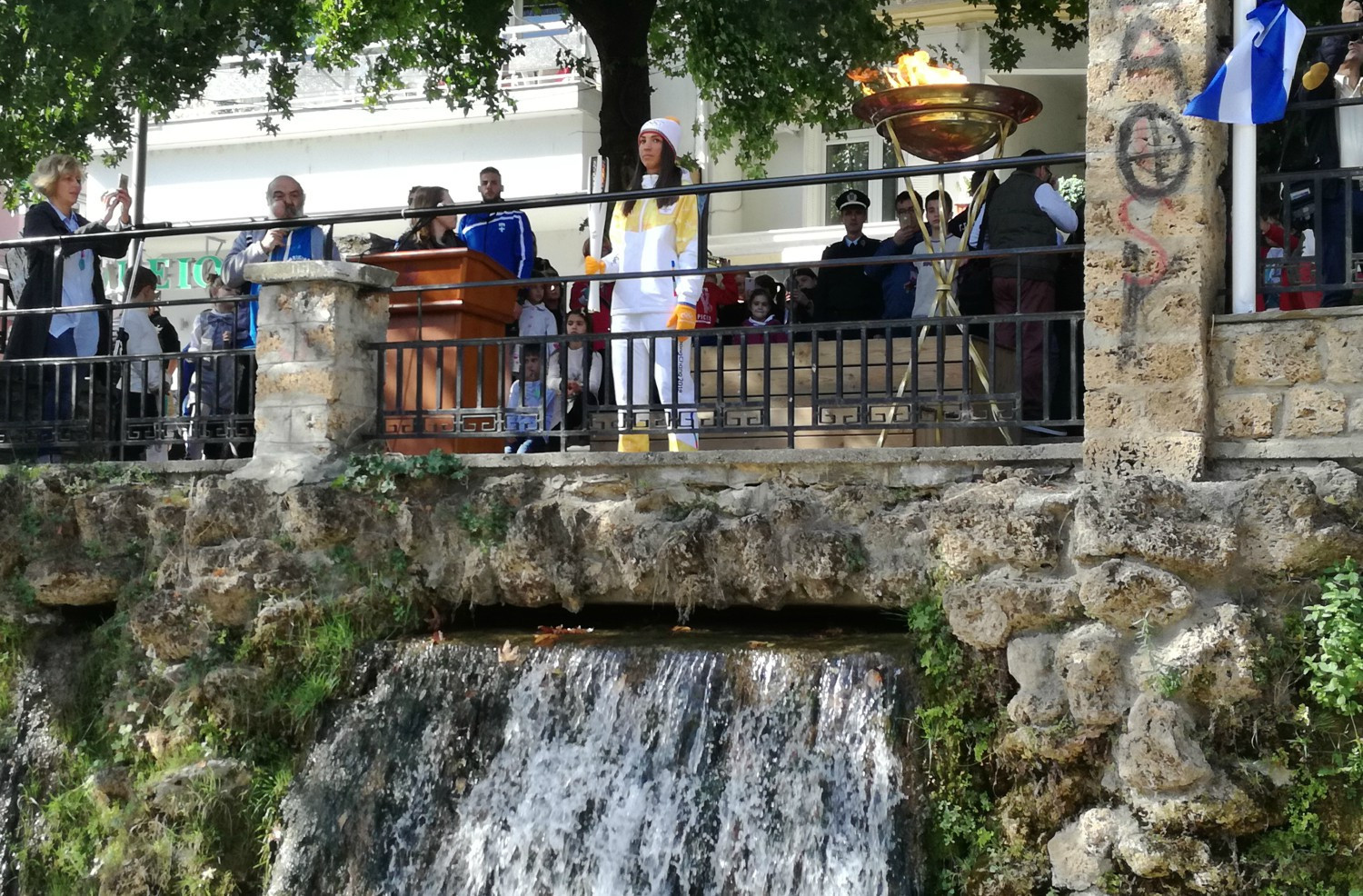 A spectacular waterfall at Edessa has been one of the highlights of the Olympic Torch Relay ©HOC