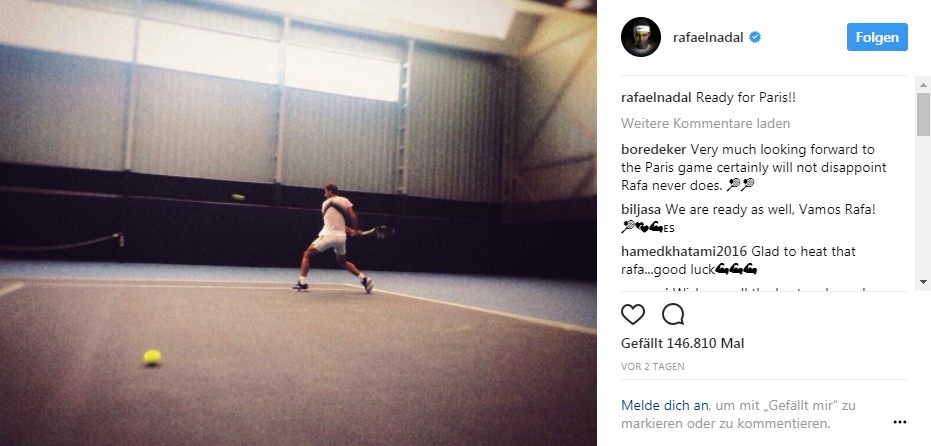 Rafael Nadal confirms his intentions to play in the Paris Masters ©Instragram