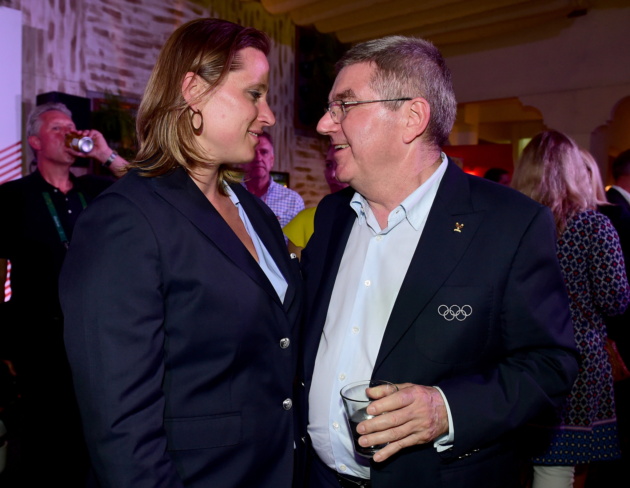 IOC Athletes' Commission chair Angela Ruggiero, left, alongside IOC President Thomas Bach ©Getty Images