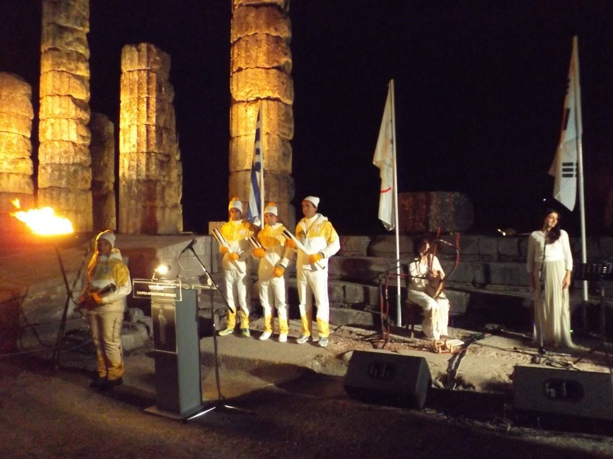 Delphi was the last stop for the Olympic Torch in  Greece before it heads to Athens for the handover to Pyeongchang 2018 and it is taken to South Korea ©ITG