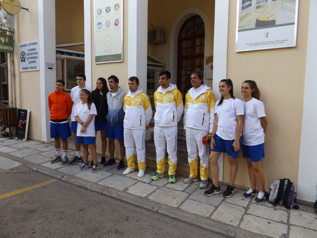 Local athletes in Delphi picked through a ballot prepare to carry the Olympic Torch ©ITG