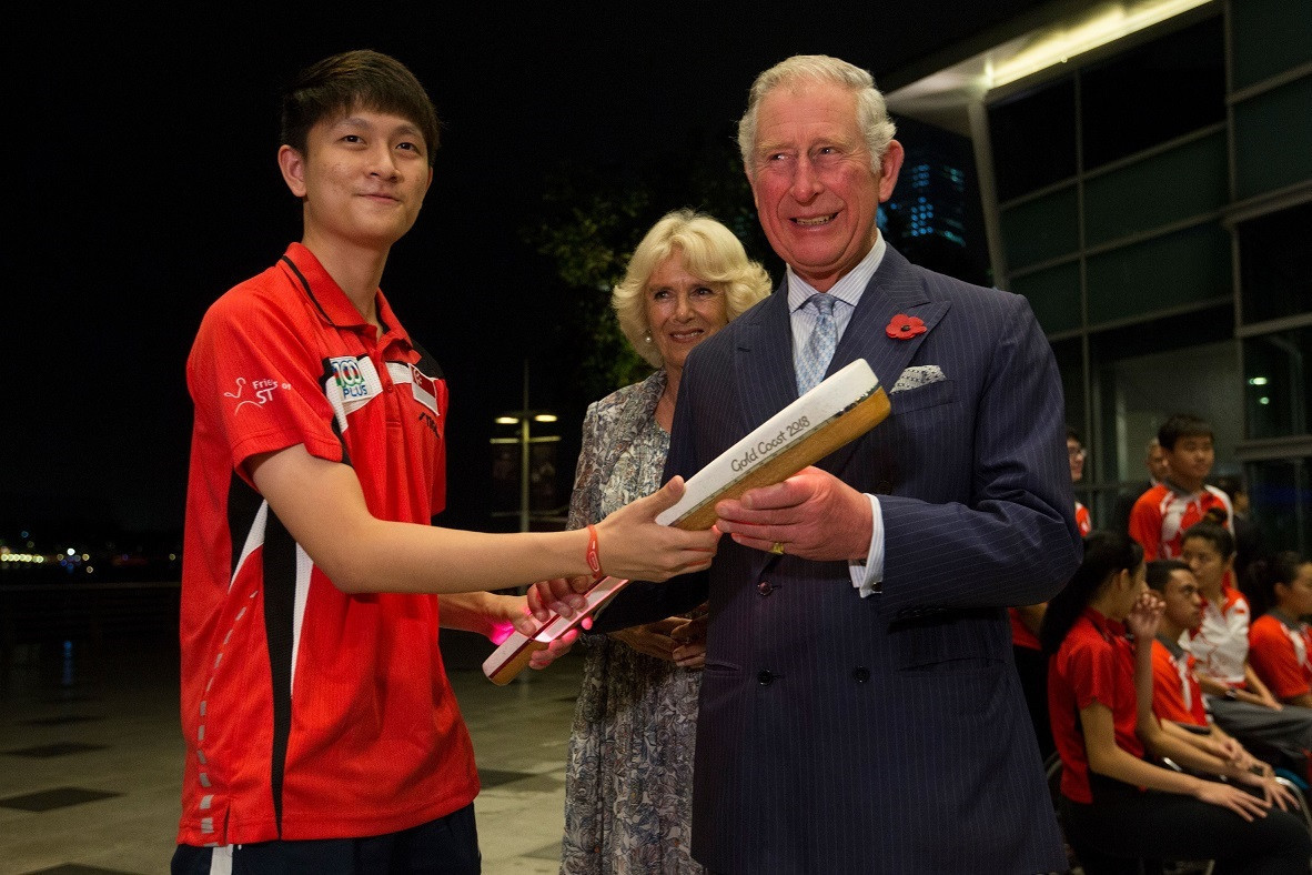 Prince Charles was presented by the Gold Coast 2018 Baton in Singapore ©Getty Images