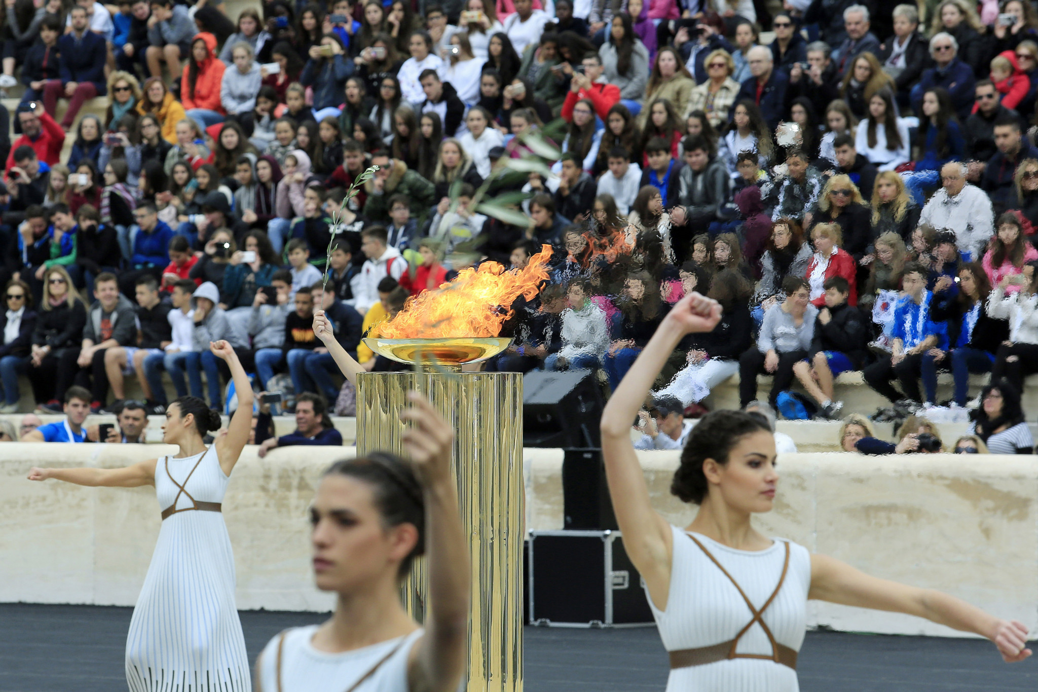 ''Let Everyone Shine'' The 2018 torch song made its Olympic and international debut in the historic Panathinaiko Stadium in Athens ©Getty Images