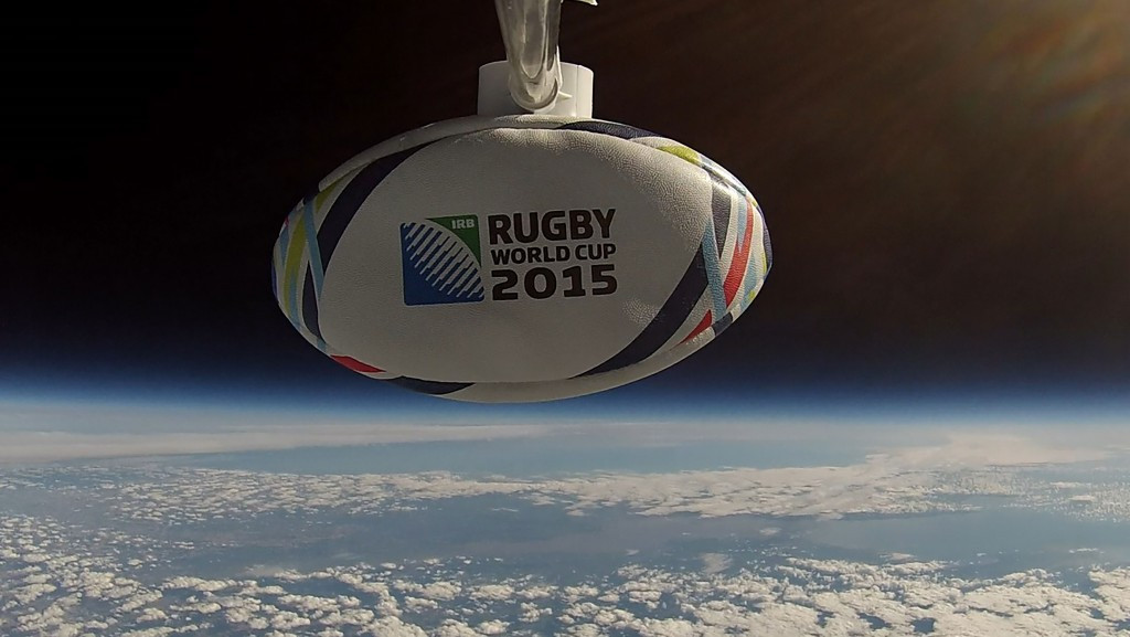 England legend helps launch tournament ball into space as countdown to 2015 Rugby World Cup continues